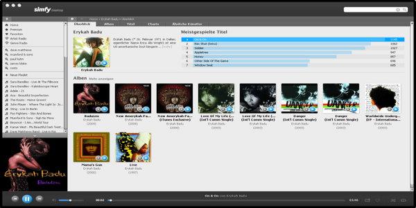 simfy Bildschirmfoto
